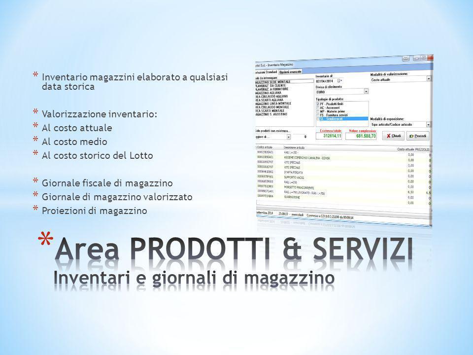 Area PRODOTTI & SERVIZI Inventari e giornali di magazzino