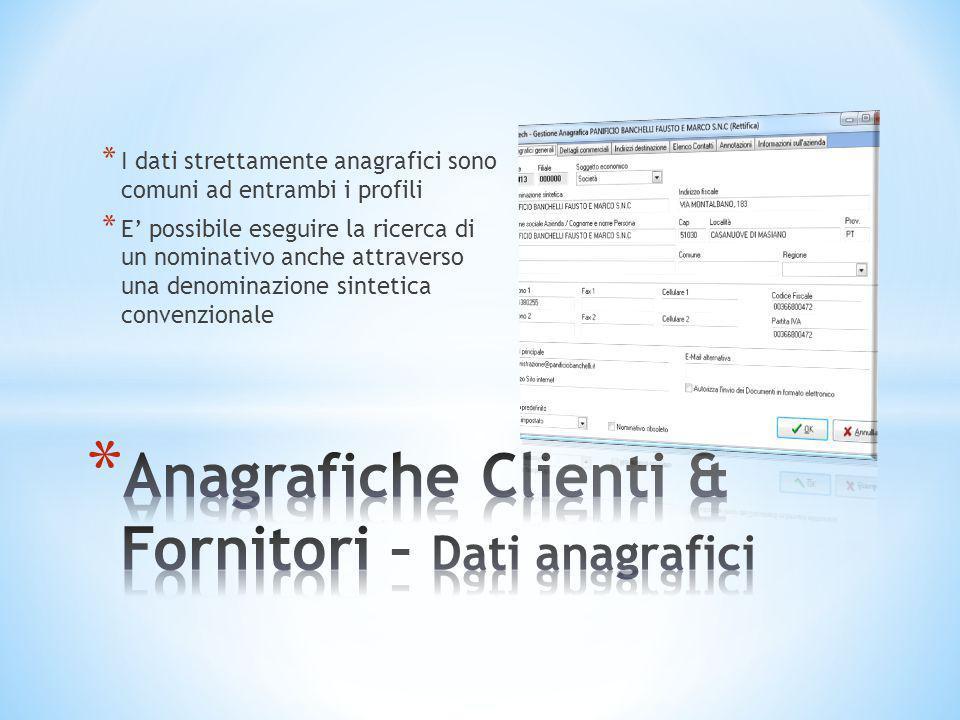 Anagrafiche Clienti & Fornitori – Dati anagrafici