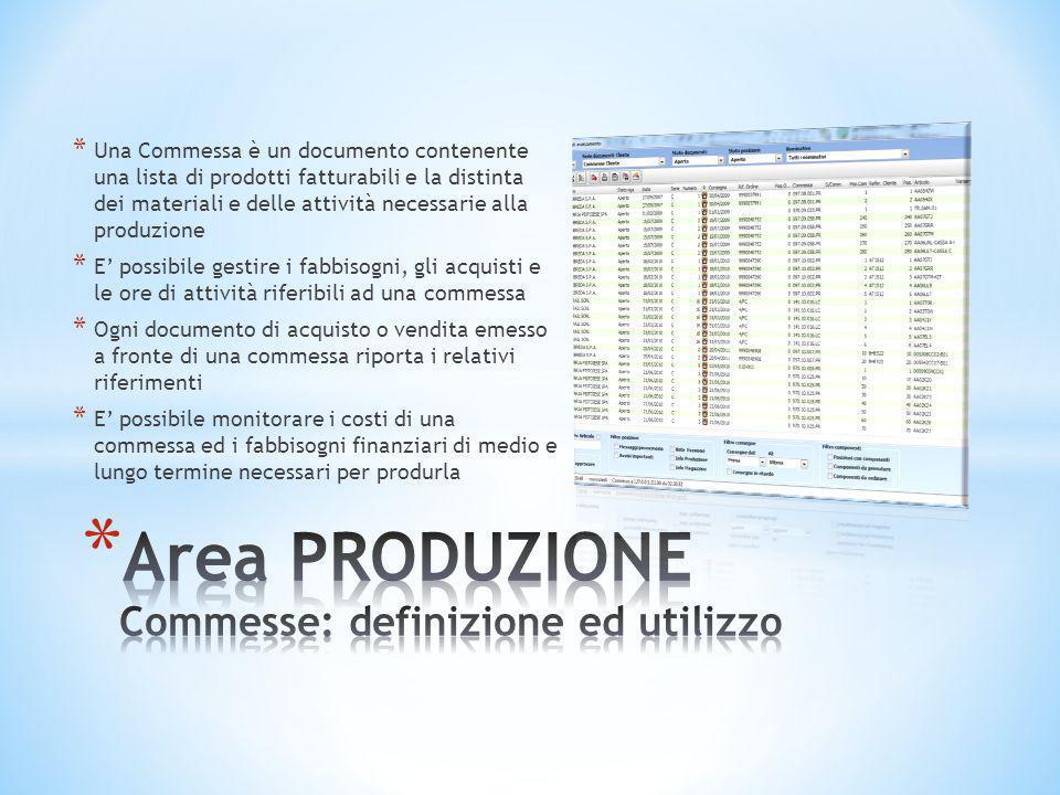 Area PRODUZIONE Commesse: definizione ed utilizzo