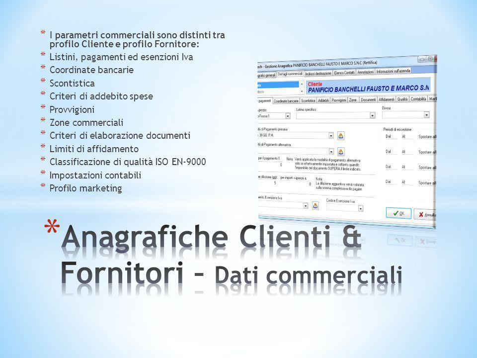 Anagrafiche Clienti & Fornitori – Dati commerciali
