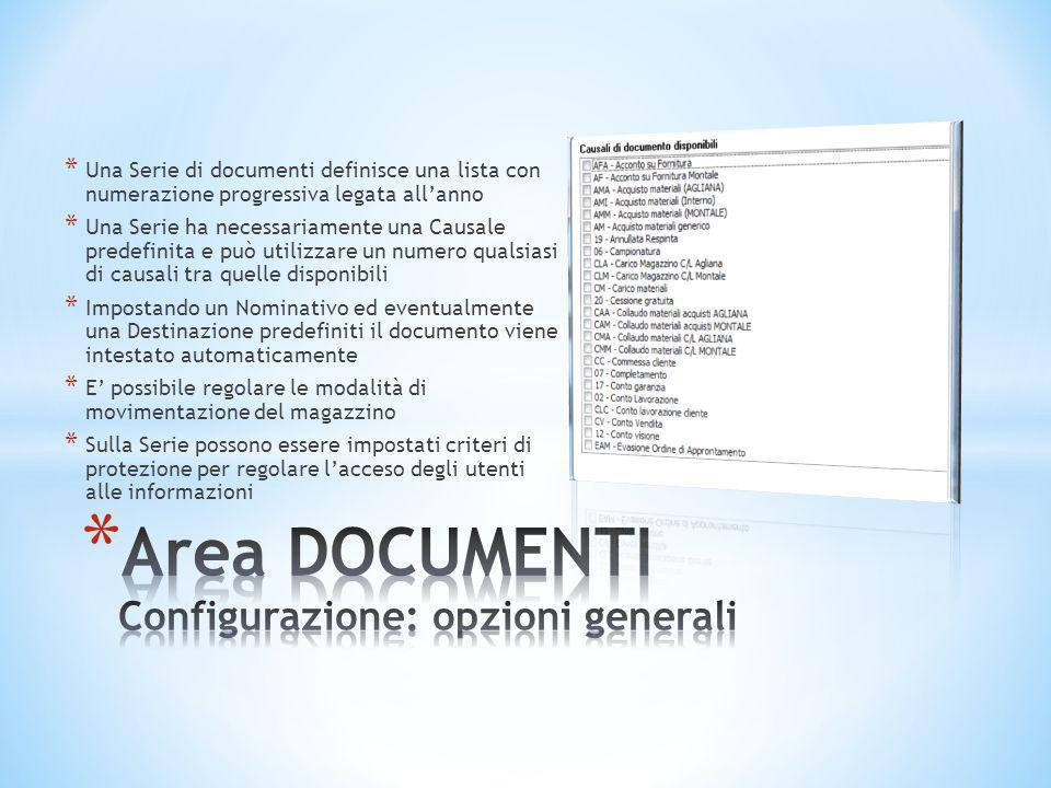 Area DOCUMENTI Configurazione: opzioni generali