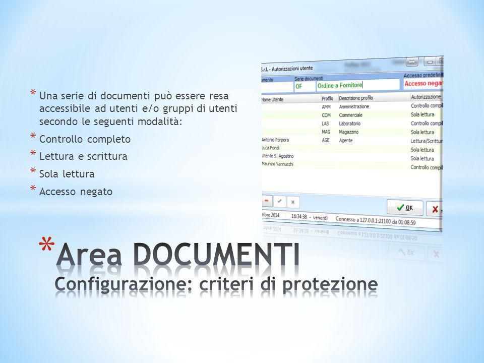 Area DOCUMENTI Configurazione: criteri di protezione