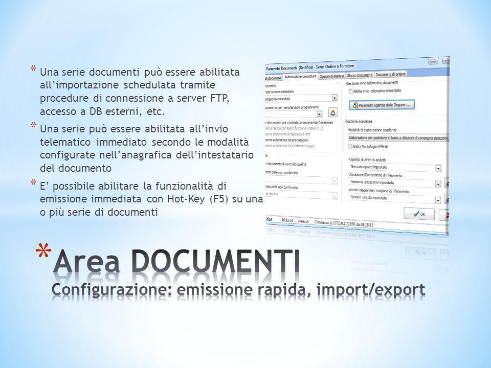Area DOCUMENTI Configurazione: emissione rapida, import/export