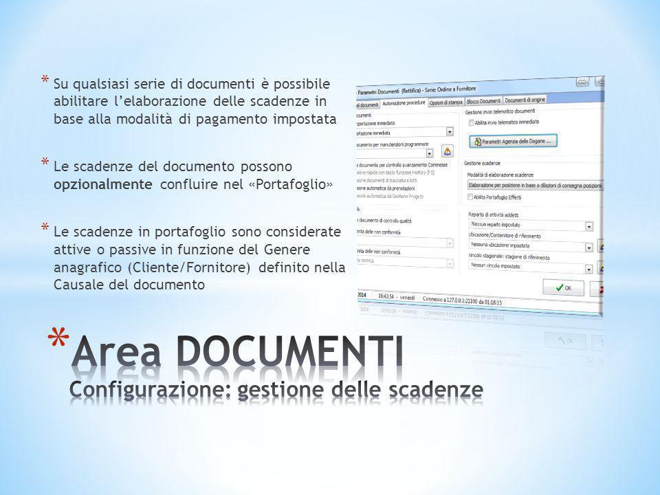 Area DOCUMENTI Configurazione: gestione delle scadenze