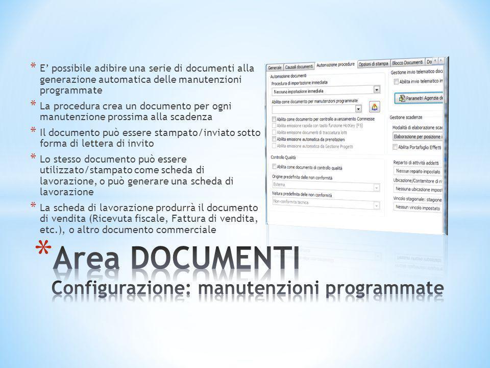 Area DOCUMENTI Configurazione: manutenzioni programmate