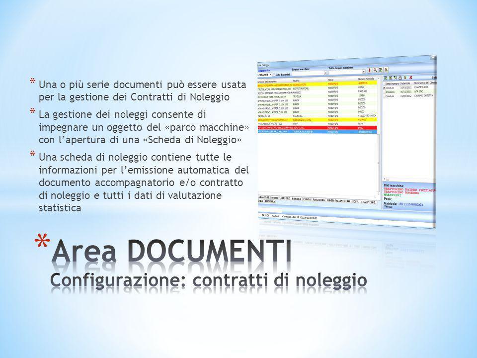 Area DOCUMENTI Configurazione: contratti di noleggio