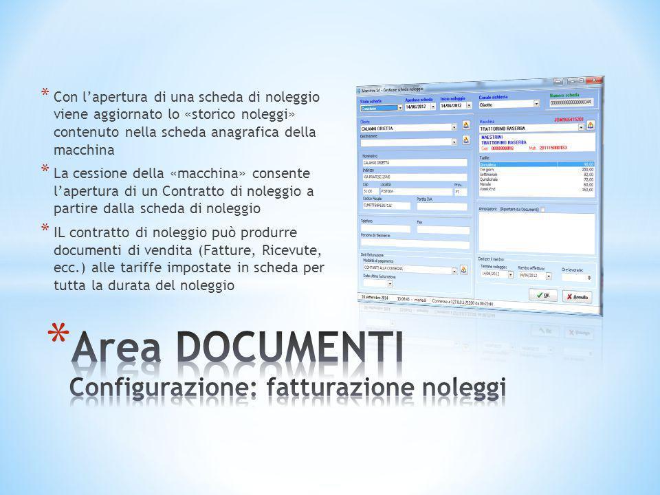 Area DOCUMENTI Configurazione: fatturazione noleggi