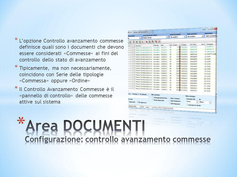 Area DOCUMENTI Configurazione: controllo avanzamento commesse