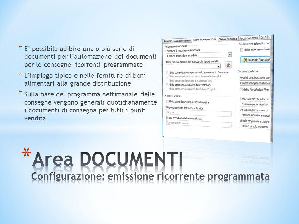Area DOCUMENTI Configurazione: emissione ricorrente programmata