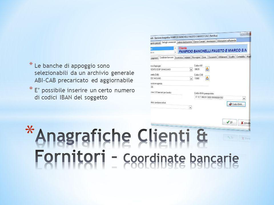Anagrafiche Clienti & Fornitori – Coordinate bancarie