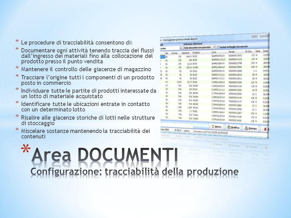 Area DOCUMENTI Configurazione: tracciabilità della produzione