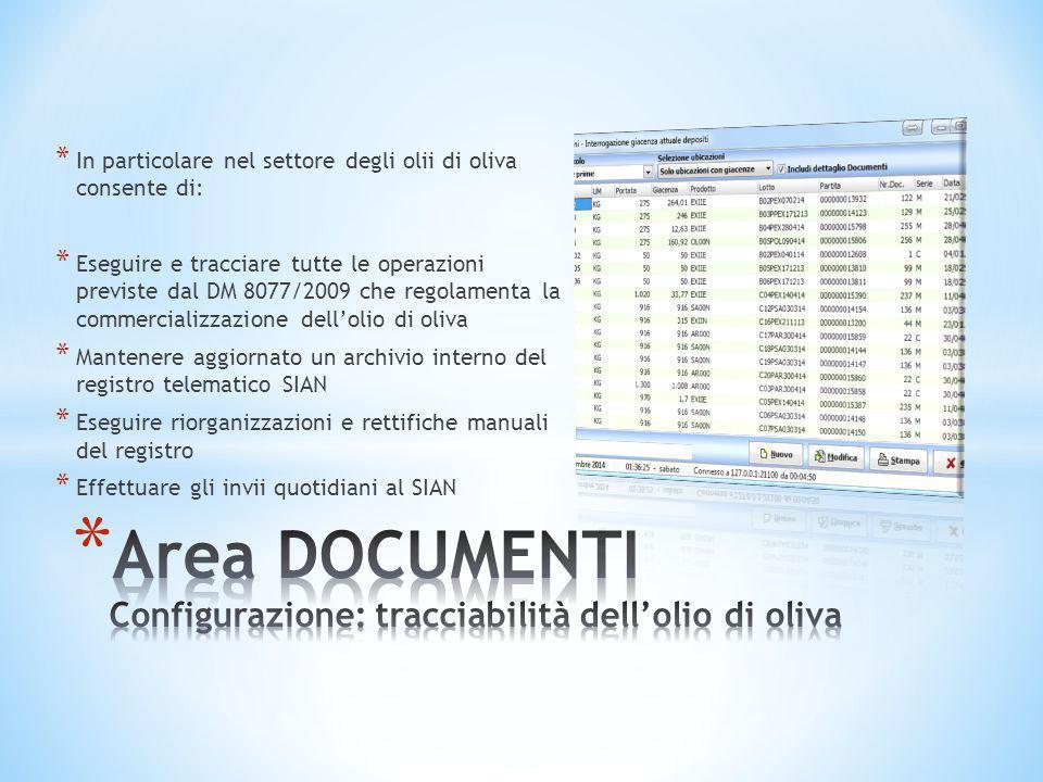 Area DOCUMENTI Configurazione: tracciabilità dell'olio di oliva