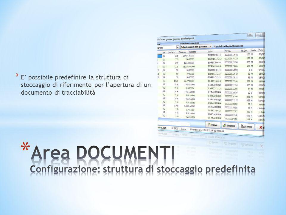 Area DOCUMENTI Configurazione: struttura di stoccaggio predefinita