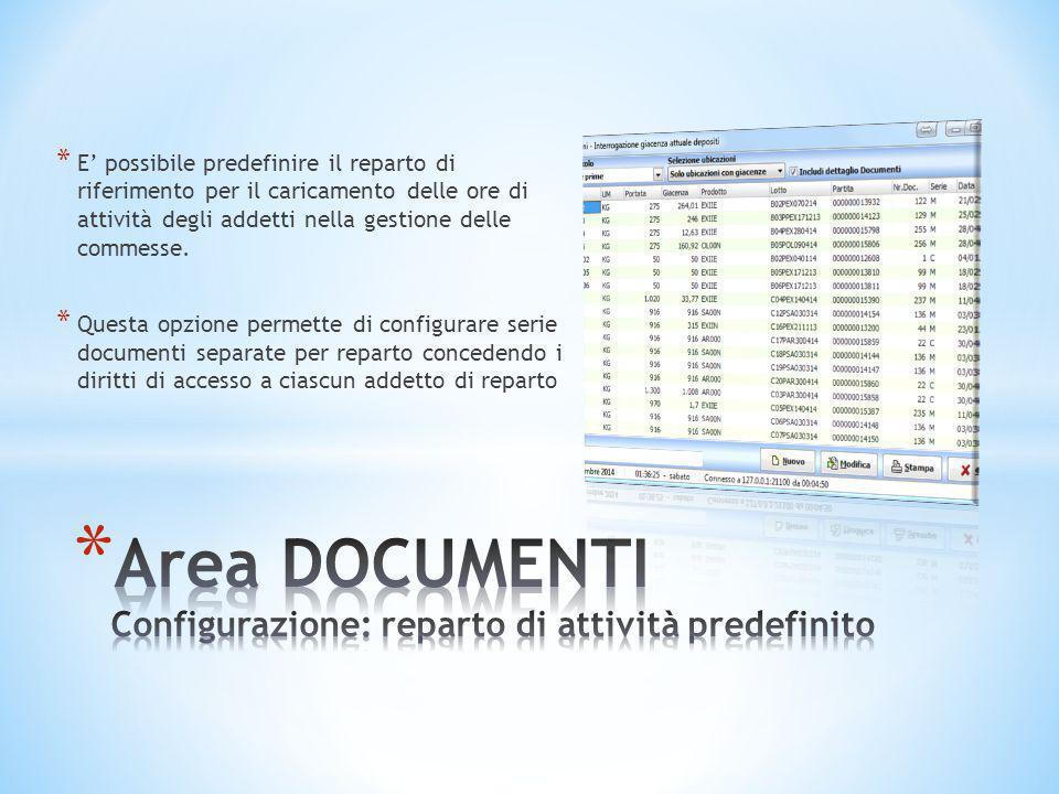Area DOCUMENTI Configurazione: reparto di attività predefinito