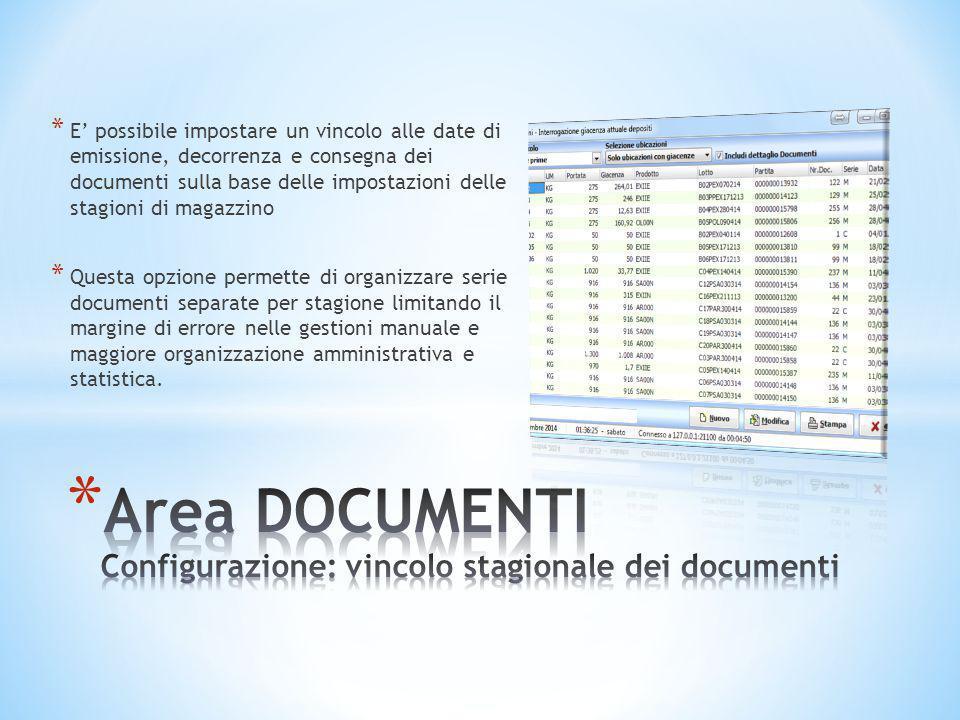 Area DOCUMENTI Configurazione: vincolo stagionale dei documenti