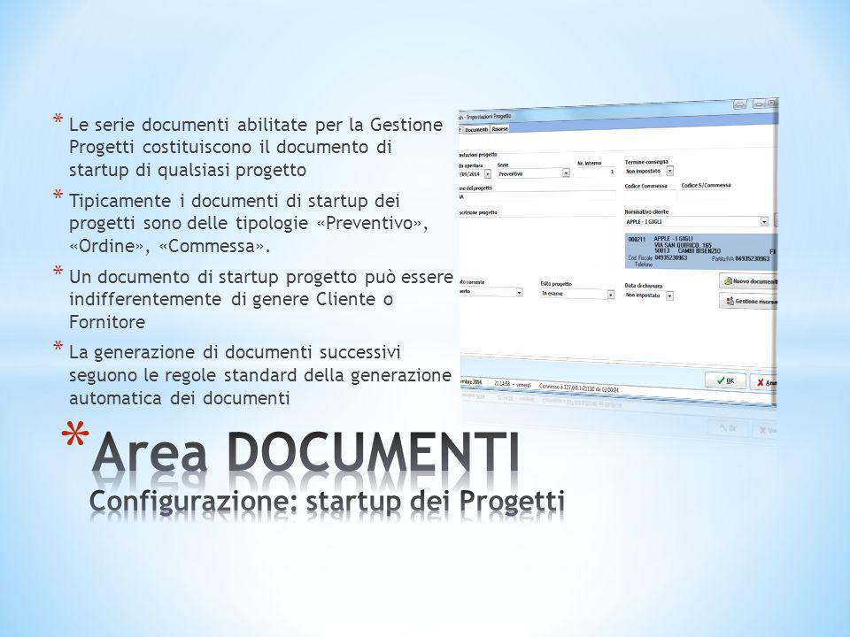 Area DOCUMENTI Configurazione: startup dei Progetti