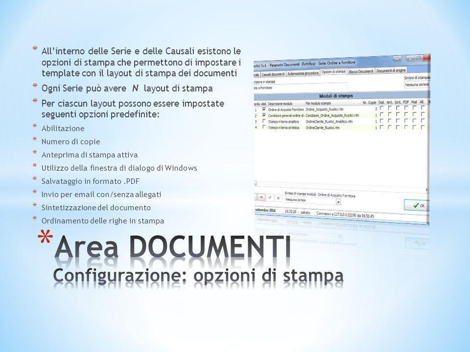Area DOCUMENTI Configurazione: opzioni di stampa