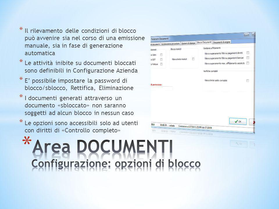 Area DOCUMENTI Configurazione: opzioni di blocco