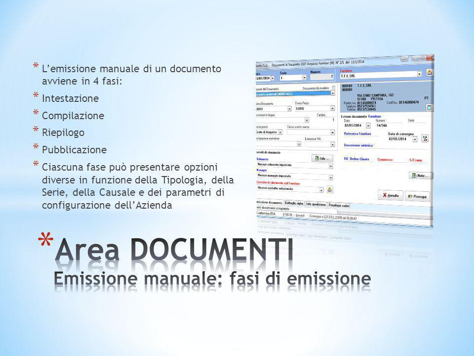 Area DOCUMENTI Emissione manuale: fasi di emissione