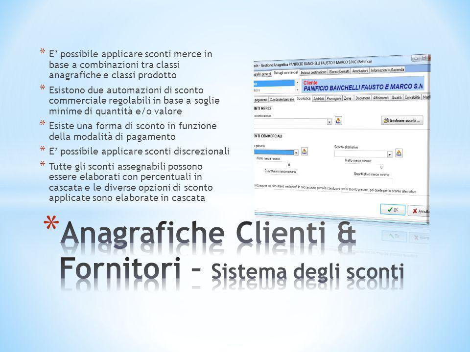 Anagrafiche Clienti & Fornitori – Sistema degli sconti