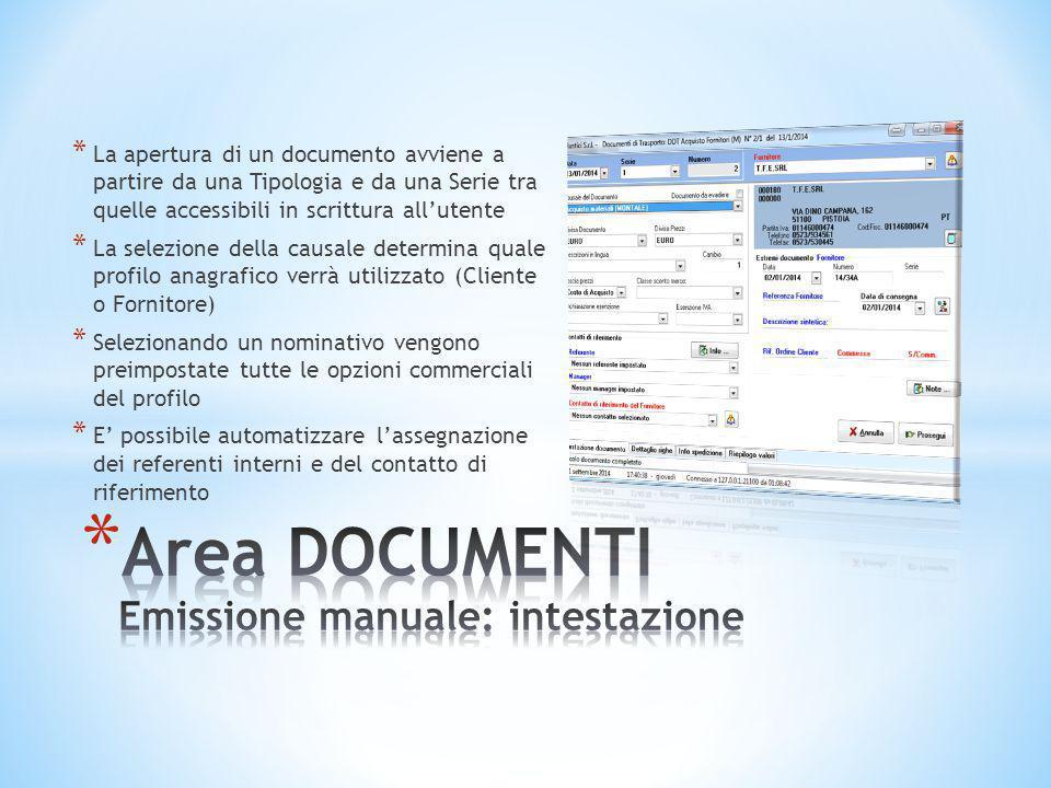 Area DOCUMENTI Emissione manuale: intestazione