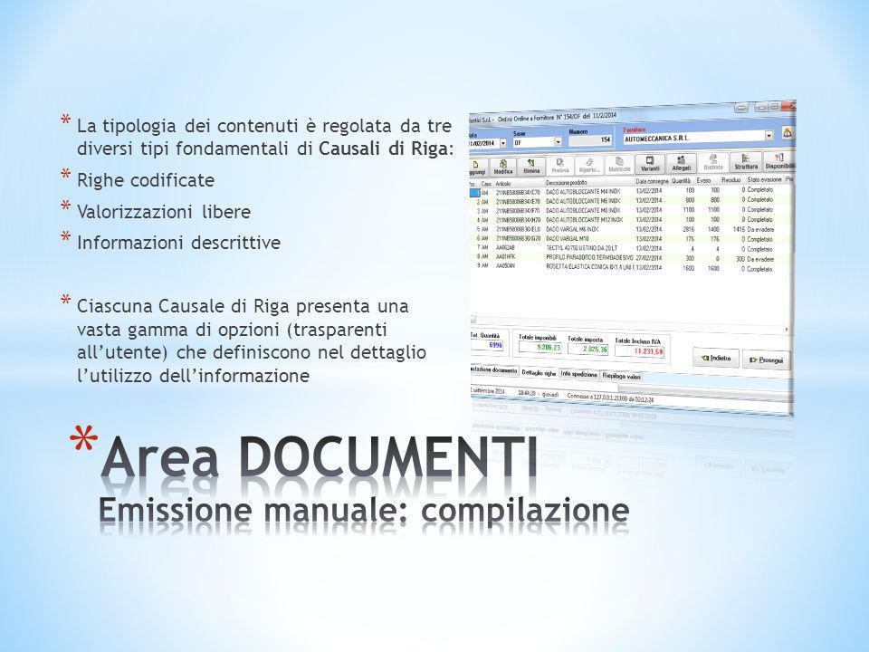 Area DOCUMENTI Emissione manuale: compilazione