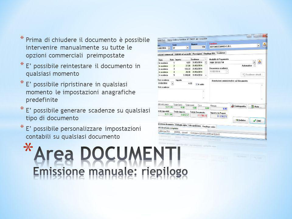 Area DOCUMENTI Emissione manuale: riepilogo