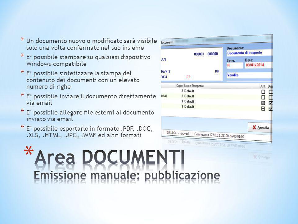Area DOCUMENTI Emissione manuale: pubblicazione