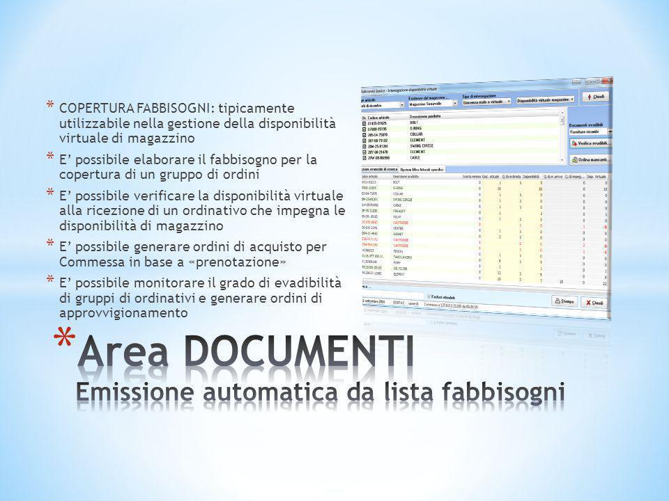 Area DOCUMENTI Emissione automatica da lista fabbisogni