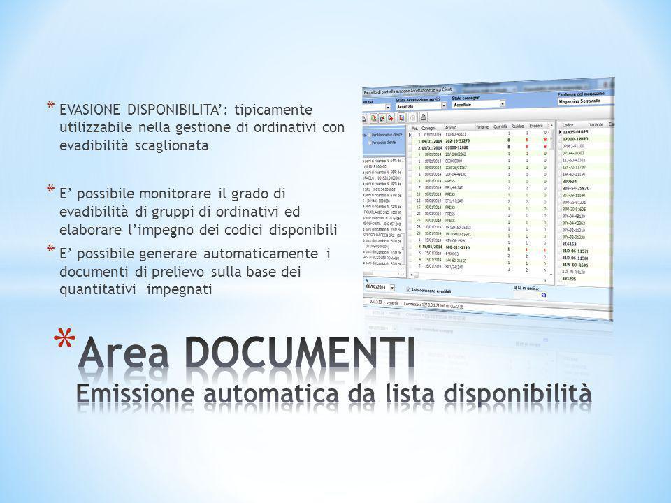 Area DOCUMENTI Emissione automatica da lista disponibilità