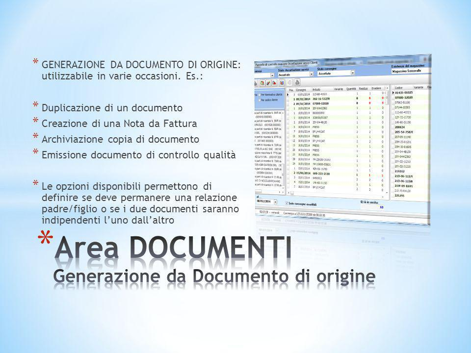 Area DOCUMENTI Generazione da Documento di origine