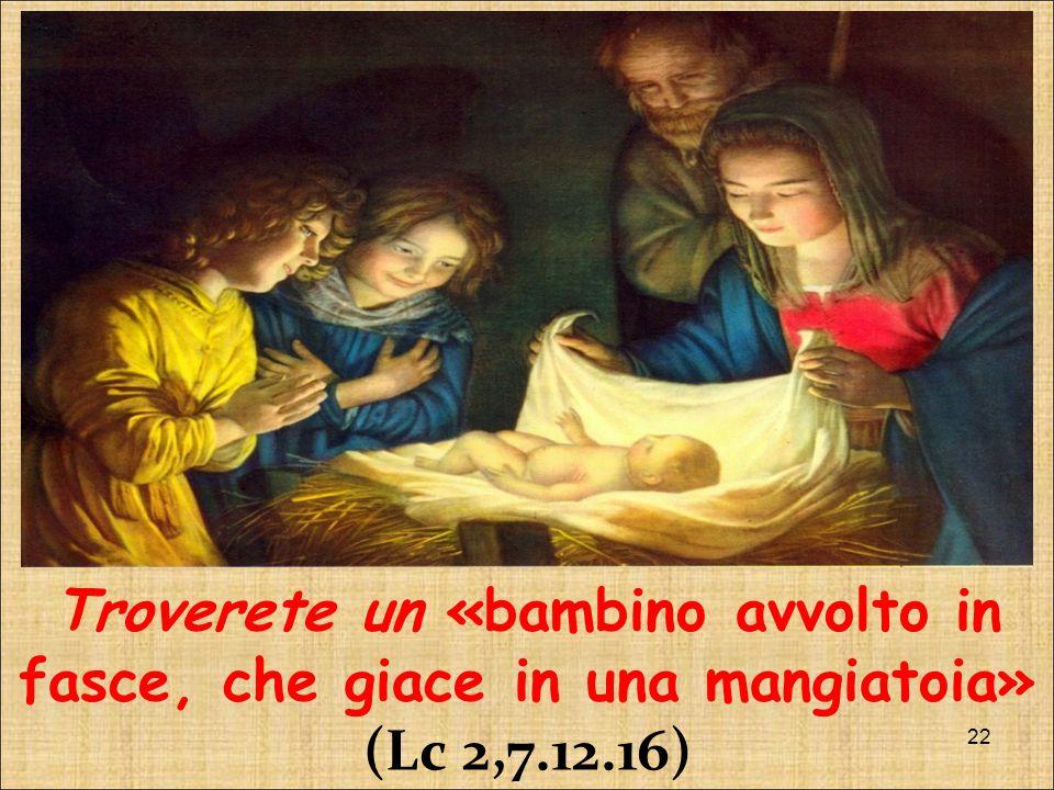 Troverete un «bambino avvolto in fasce, che giace in una mangiatoia» (Lc 2,7.12.16)