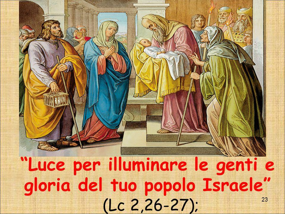 Luce per illuminare le genti e gloria del tuo popolo Israele (Lc 2,26-27);