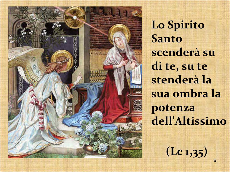 Lo Spirito Santo scenderà su di te, su te stenderà la sua ombra la potenza dell Altissimo (Lc 1,35)