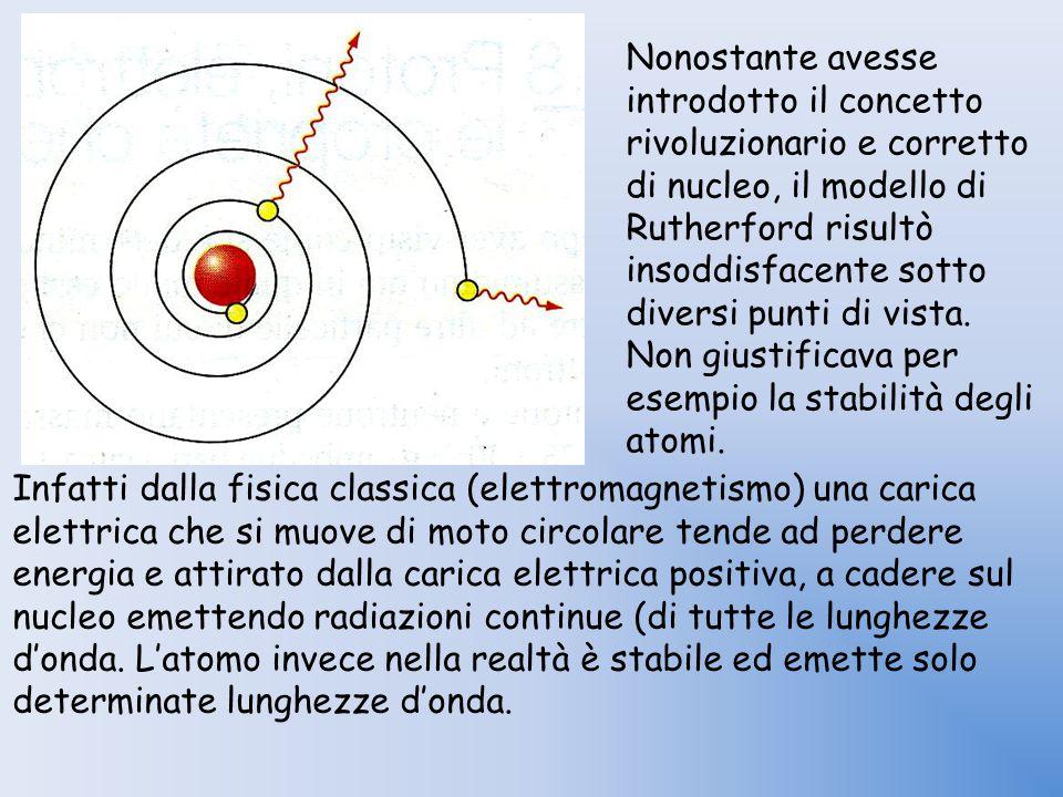 Nonostante avesse introdotto il concetto rivoluzionario e corretto di nucleo, il modello di Rutherford risultò insoddisfacente sotto diversi punti di vista. Non giustificava per esempio la stabilità degli atomi.