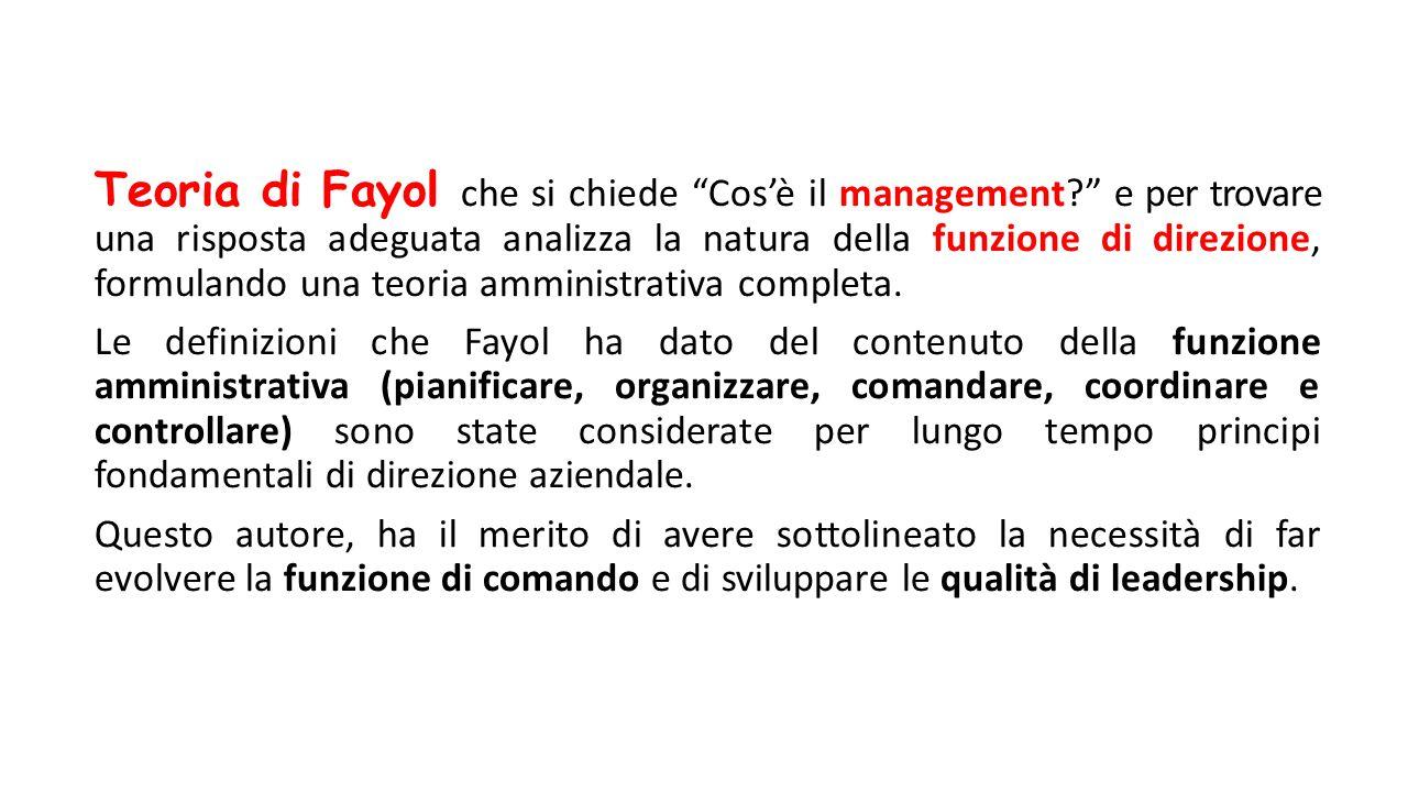 Teoria di Fayol che si chiede Cos'è il management