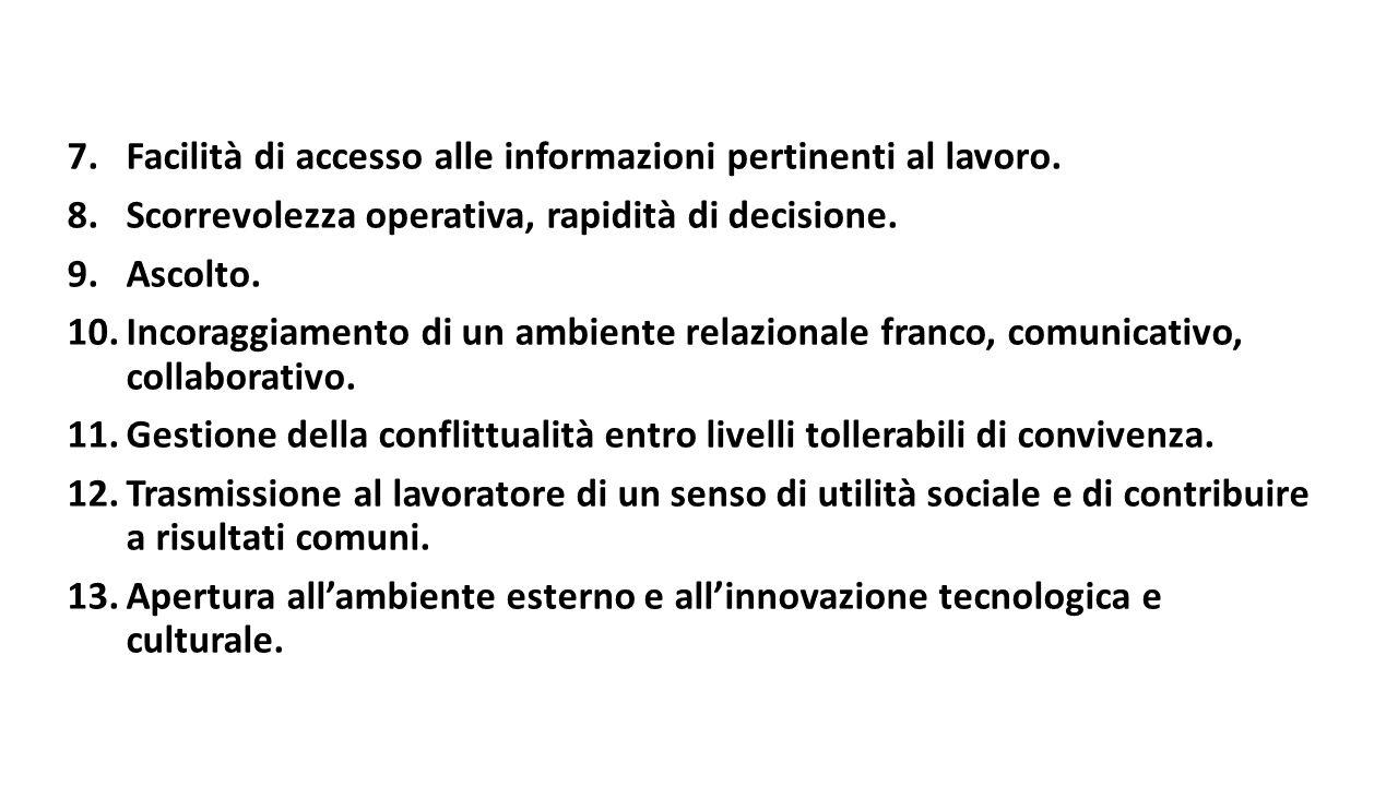 Facilità di accesso alle informazioni pertinenti al lavoro.