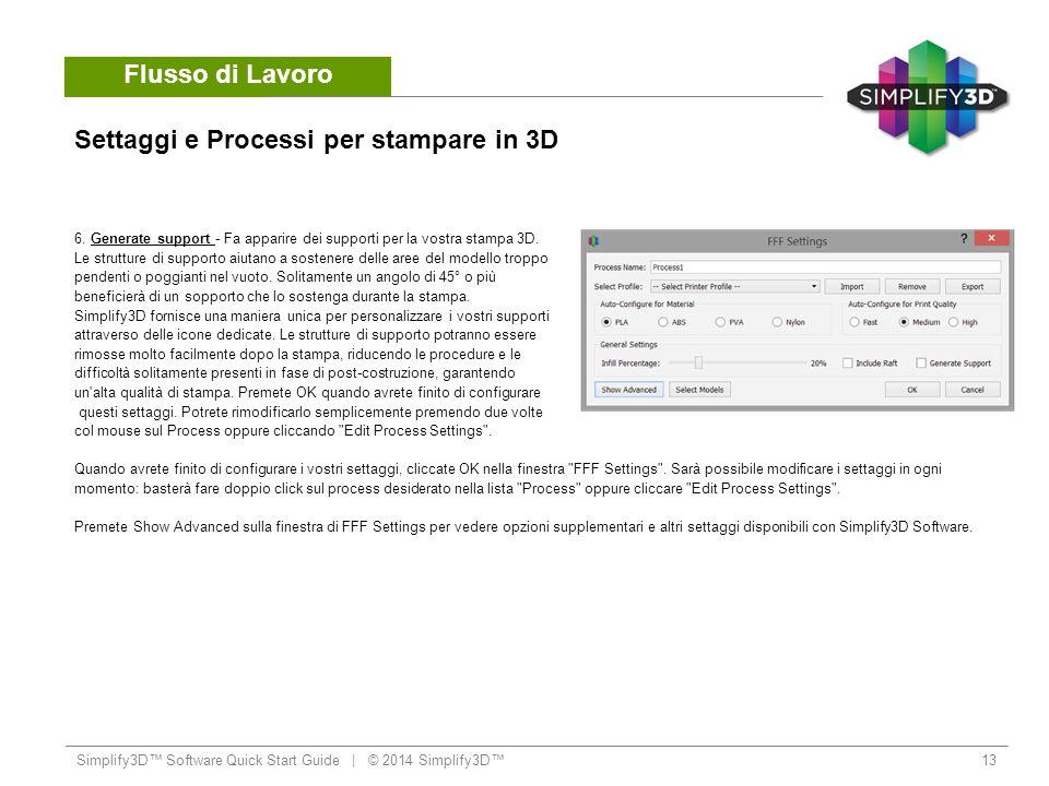 Settaggi e Processi per stampare in 3D