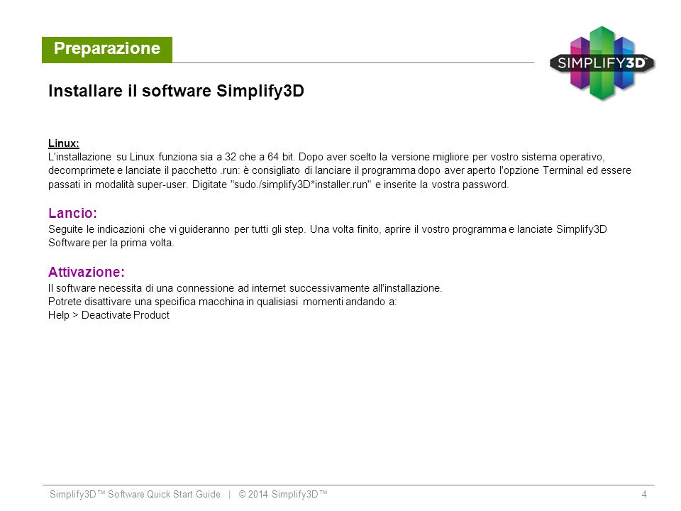 Installare il software Simplify3D