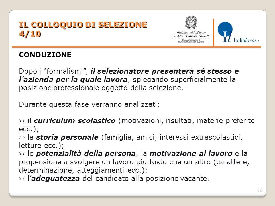 IL COLLOQUIO DI SELEZIONE 4/10