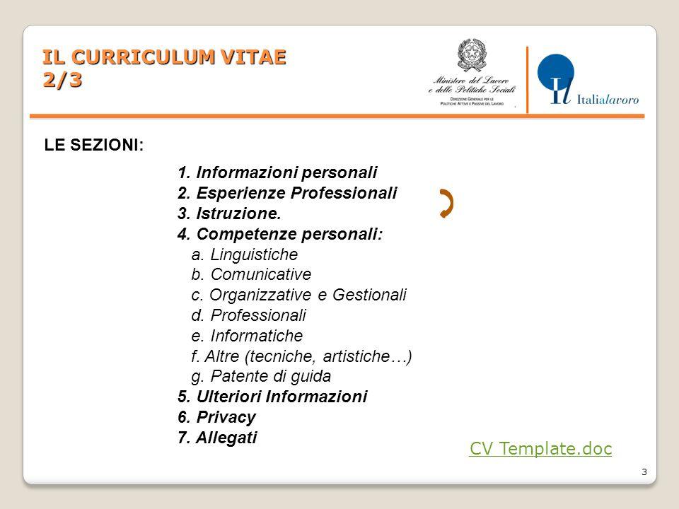 IL CURRICULUM VITAE 2/3 LE SEZIONI: 1. Informazioni personali