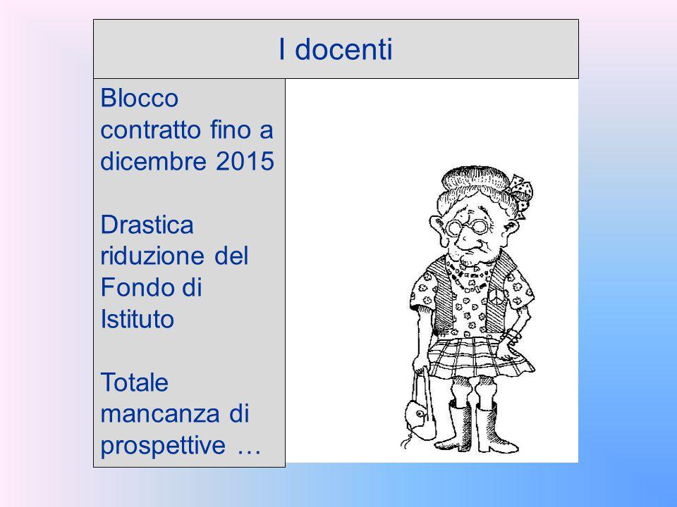 I docenti Blocco contratto fino a dicembre 2015