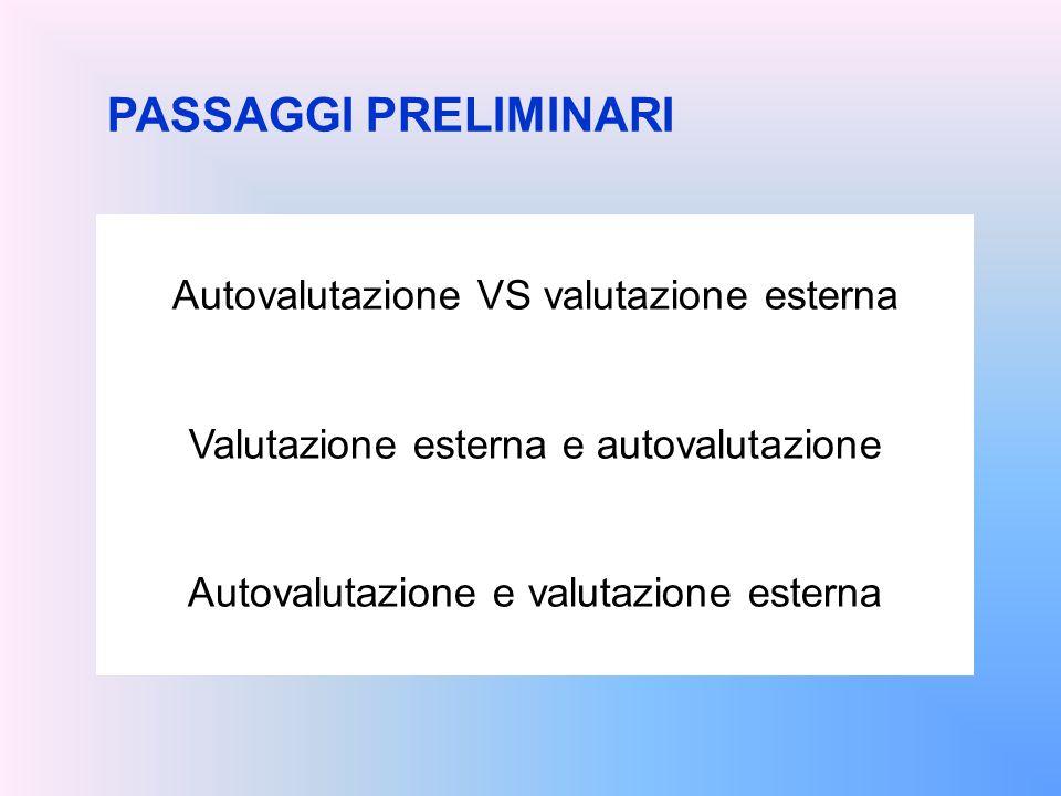 PASSAGGI PRELIMINARI Autovalutazione VS valutazione esterna