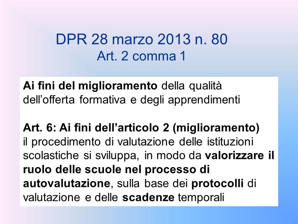 DPR 28 marzo 2013 n. 80 Art. 2 comma 1. Ai fini del miglioramento della qualità dell'offerta formativa e degli apprendimenti.