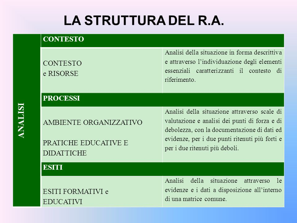 LA STRUTTURA DEL R.A. ANALISI CONTESTO e RISORSE PROCESSI