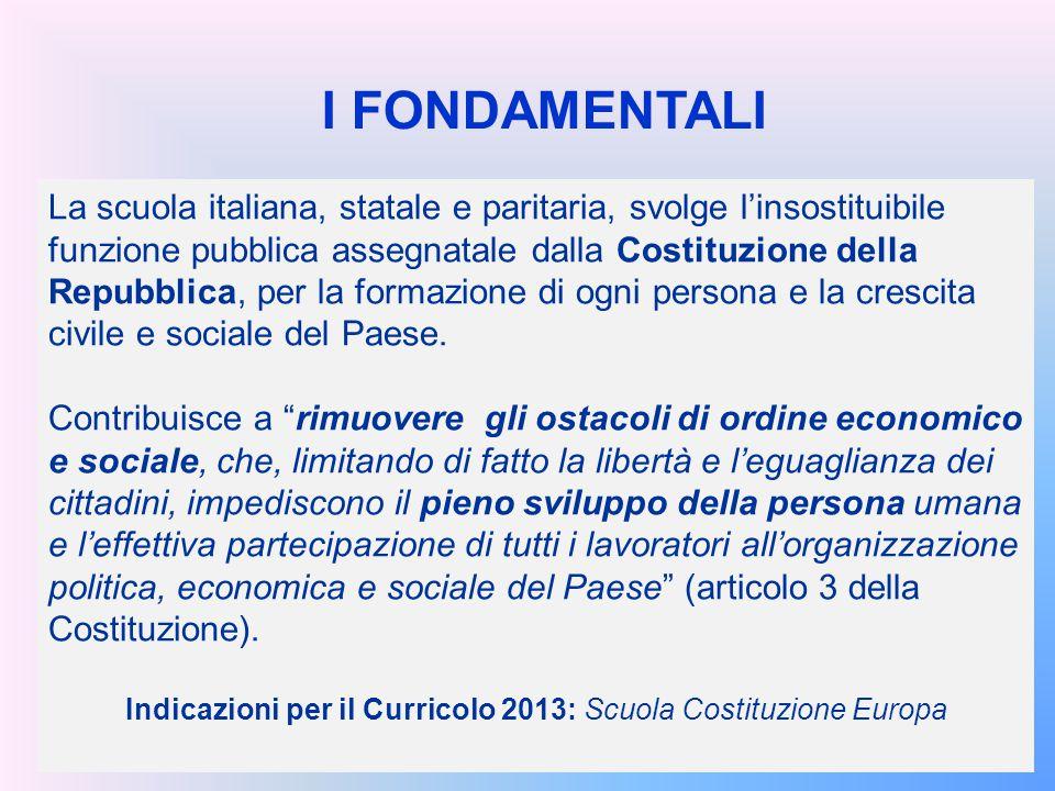 Indicazioni per il Curricolo 2013: Scuola Costituzione Europa