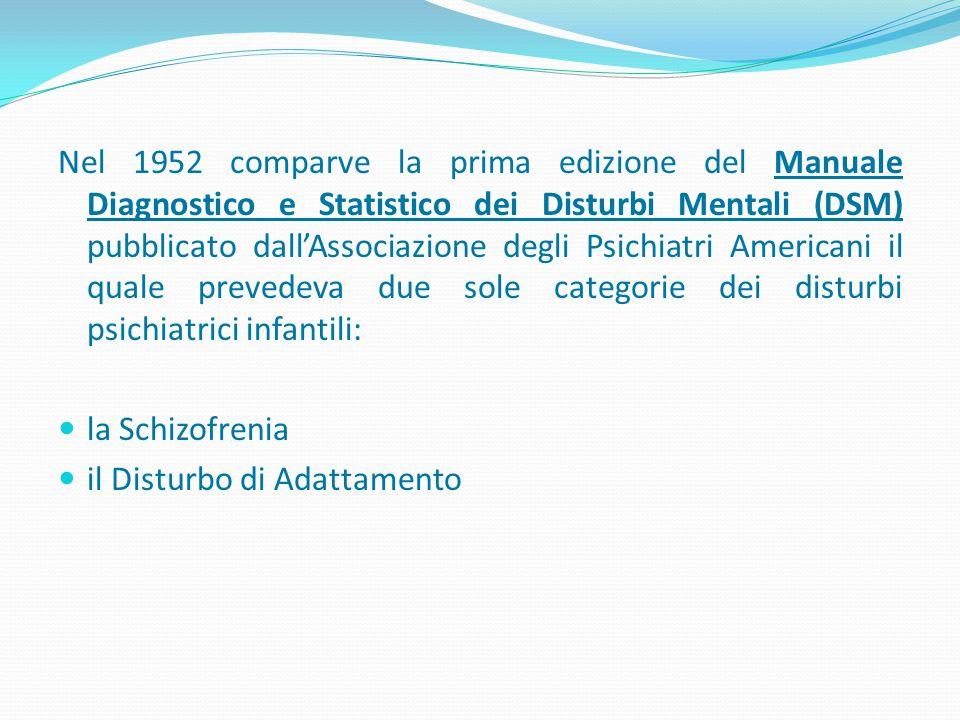 Nel 1952 comparve la prima edizione del Manuale Diagnostico e Statistico dei Disturbi Mentali (DSM) pubblicato dall'Associazione degli Psichiatri Americani il quale prevedeva due sole categorie dei disturbi psichiatrici infantili: