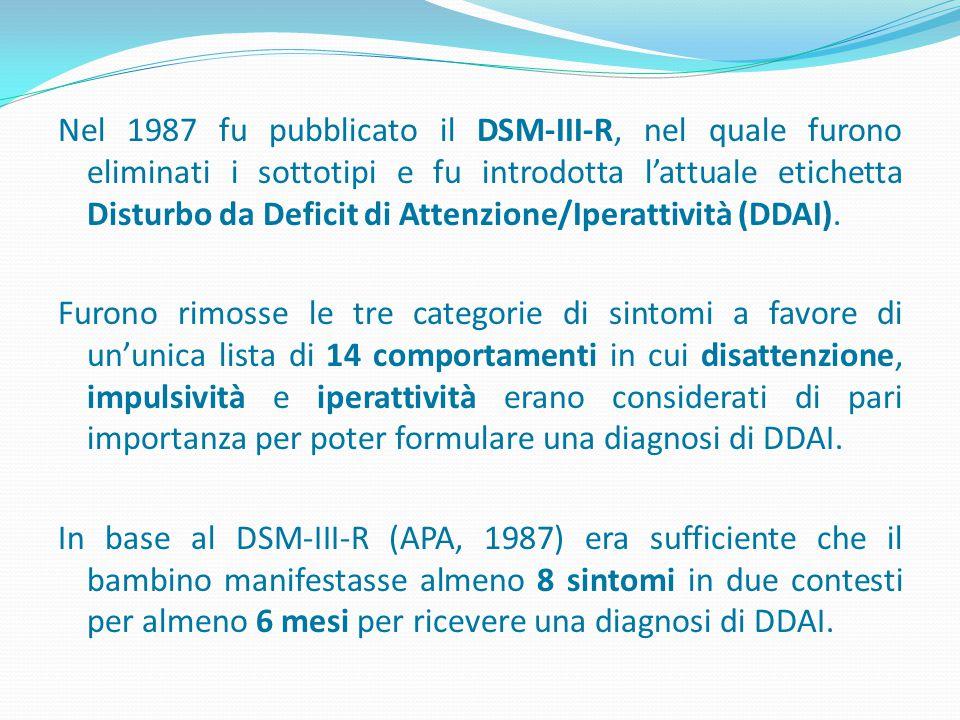 Nel 1987 fu pubblicato il DSM-III-R, nel quale furono eliminati i sottotipi e fu introdotta l'attuale etichetta Disturbo da Deficit di Attenzione/Iperattività (DDAI).