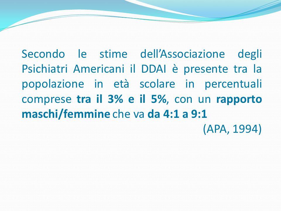 Secondo le stime dell'Associazione degli Psichiatri Americani il DDAI è presente tra la popolazione in età scolare in percentuali comprese tra il 3% e il 5%, con un rapporto maschi/femmine che va da 4:1 a 9:1