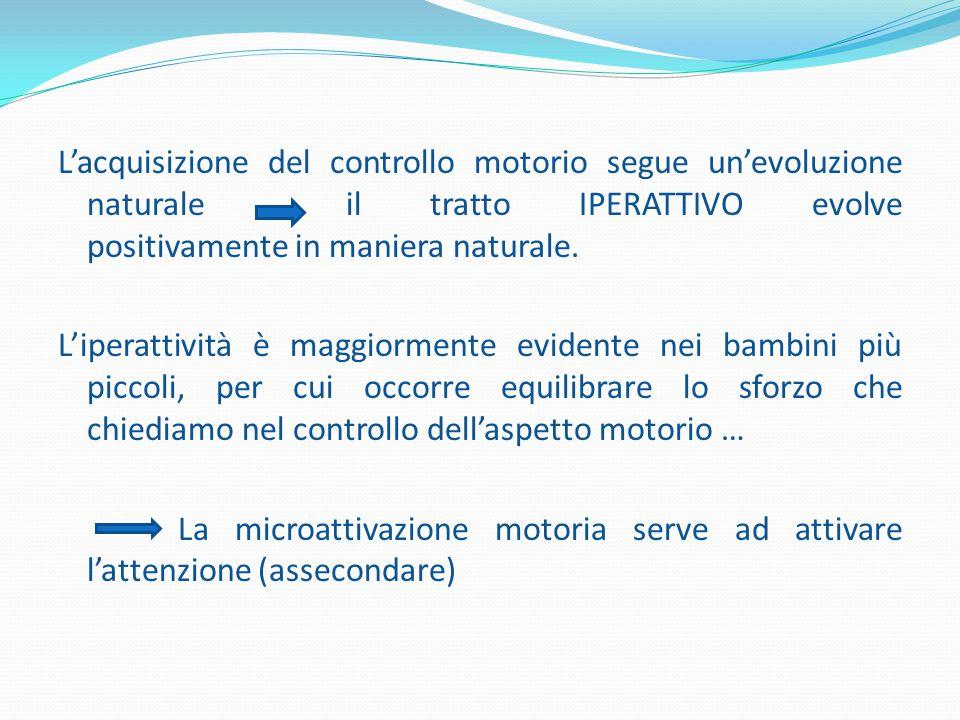 L'acquisizione del controllo motorio segue un'evoluzione naturale il tratto IPERATTIVO evolve positivamente in maniera naturale.